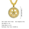 Rotatable Maple Shape Gold Tone Hip Hop Bling Bling Pendant Cuban Chain Necklace