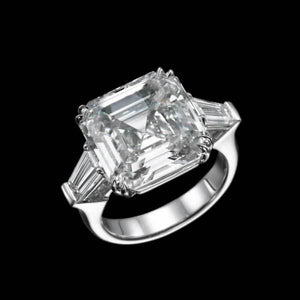 Lab-Created White Sapphire 10.13 CT Three Stone Asscher Cut Sterling Silver Engagement Ring