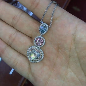 5.2CT Three Stone Graduated Necklace