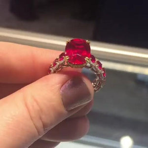 7Ct Ruby Cushion Cut Sterling Silver Engagement Ring