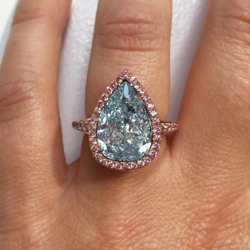 6.9CT Pear Cut Sterling Silver Engagement Ring