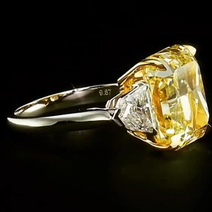 2.5 CT Asscher Cut Yellow Tone Sterling Silver Engagement Ring