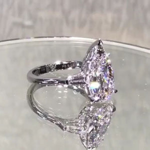 6.2CT Pear Cut Sterling Silver Engagement Ring