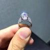 4CT Emerald Cut Sterling Silver Engagement Ring