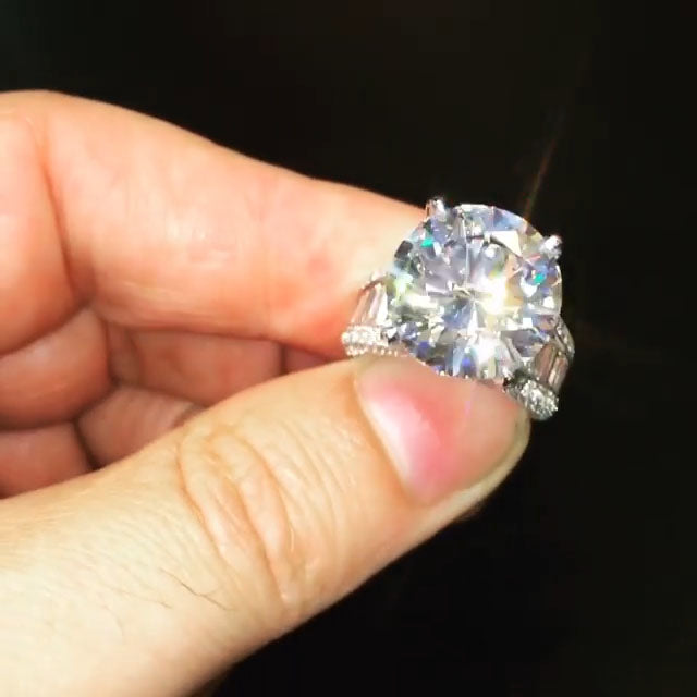 7.5CT Big Round Cut Sterling Silver Engagement Ring