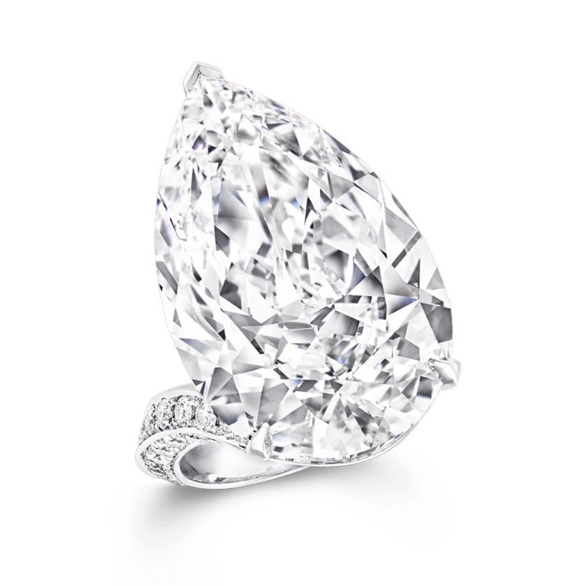 Unique 6 Ct Flawless Pear Cut Sterling Silver Engagement  Ring