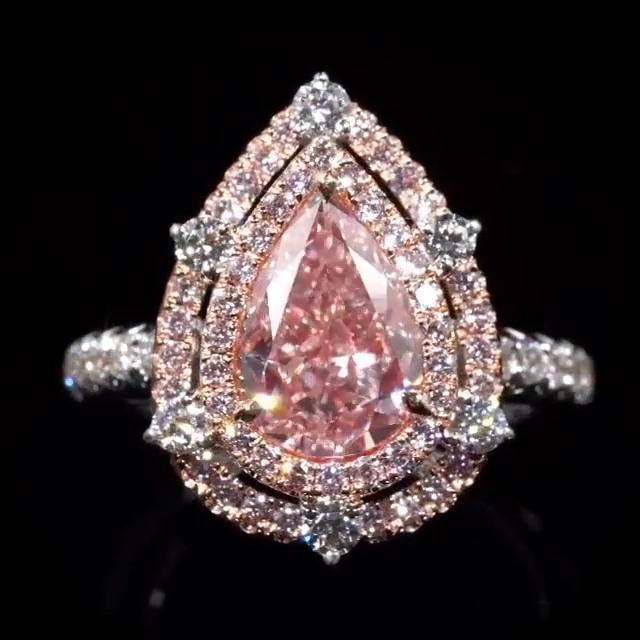 Double Halo 3.8 Ct Fancy Light Pink Pear Shape Sterling Silver Engagement Ring