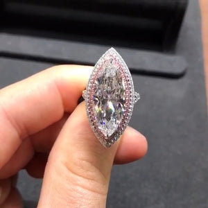 8CT Marquise Cut Sterling Silver Engagement Ring