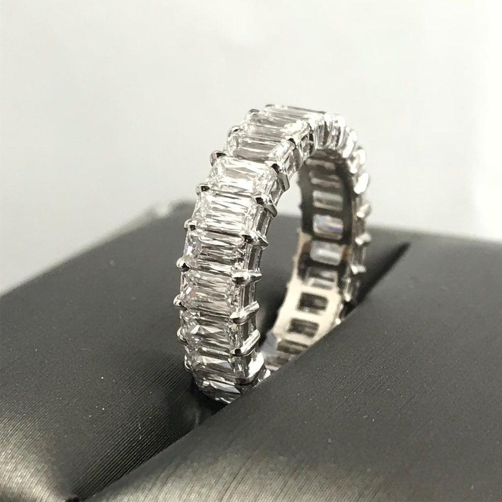 4.50 CT Baguette Cut  Sterling Silver Wedding Band