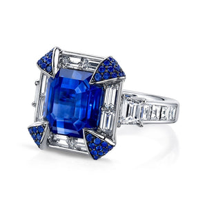6.60 CT sapphire Princess Cut Sterling Silver Engagement Ring