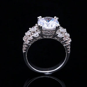 3 CT Round Cut Sterling Silver Engagement Ring With Three-Row Side Stones