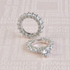 Lab-Created White Sapphire 5.74 CT T.W. Round Cut 925 Silver Wedding Set