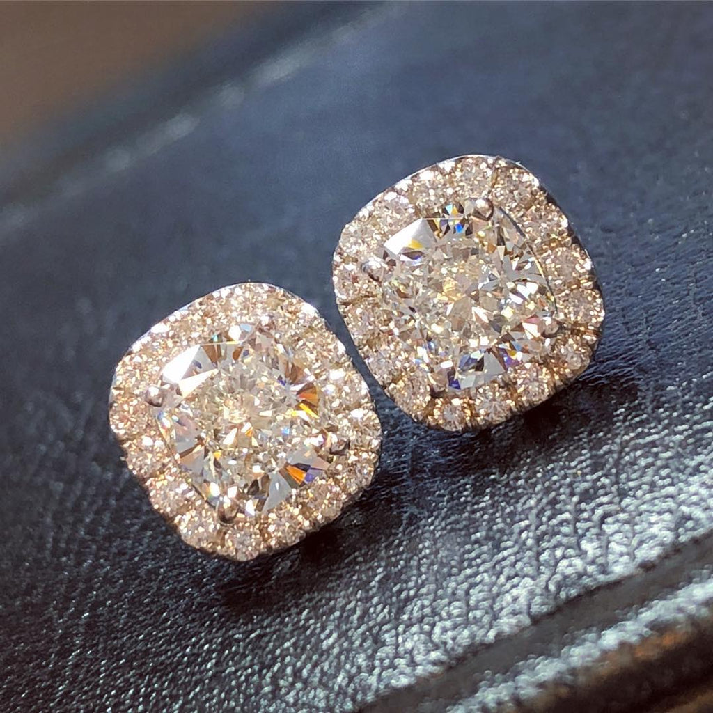 1.80 CT Cushion Cut With Fancy Pink Sapphire Halo Stud Earrings
