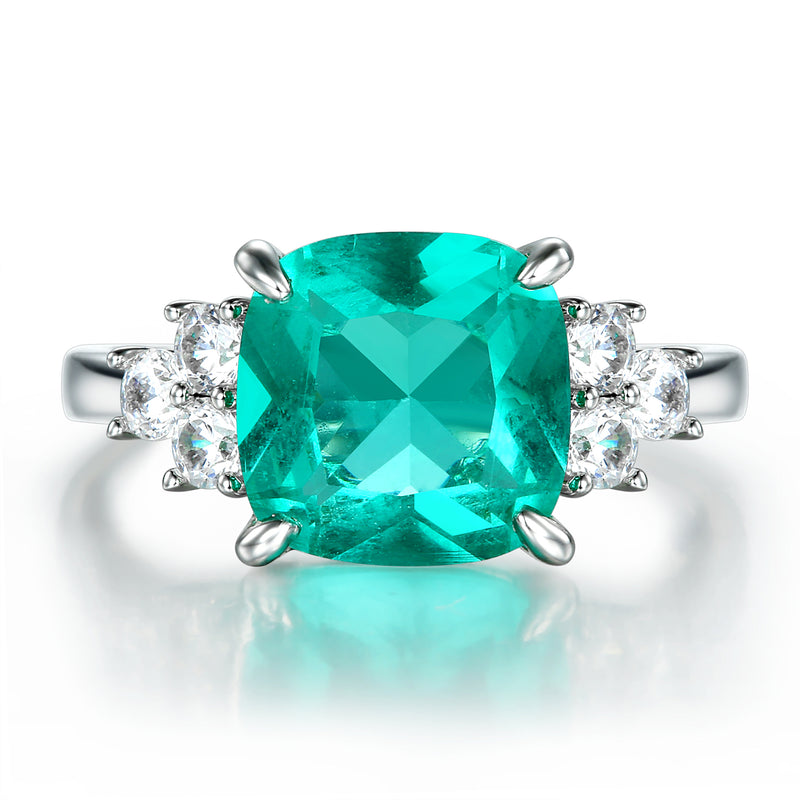 4.5Ct Cushion Cut Aquamarine Three-Stone Sterling Silver Engagement Ring