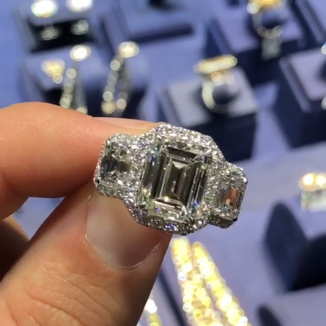10 CT Emerald Cut 3 Stones Sterling Silver Halo Engagement Ring