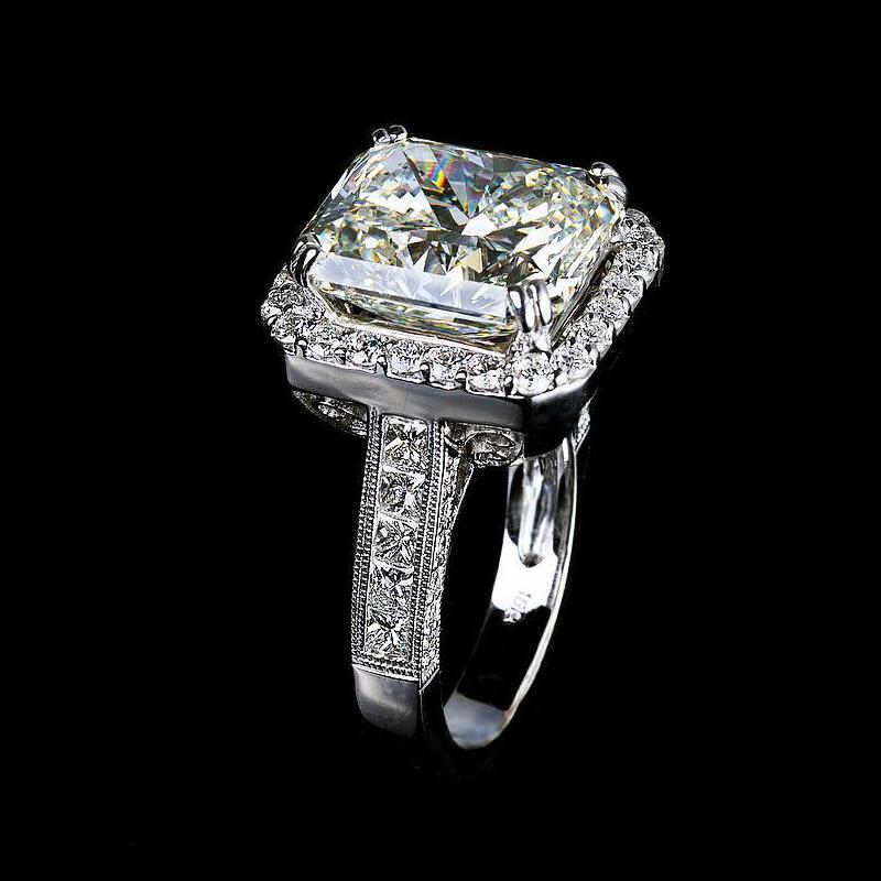 5.00 CT Princess Cut  Sterling Silver Engagement Ring