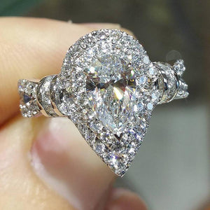 4.70 CT Pear Cut  Sterling Silver Engagement Ring