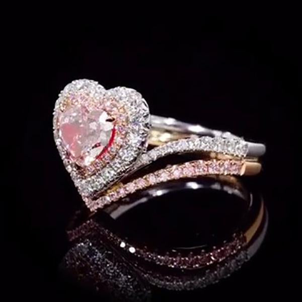 Lab-Created Brown Pink Sapphire 2.52 CT T.W. Heart Cut Wedding Set in Sterling Silver