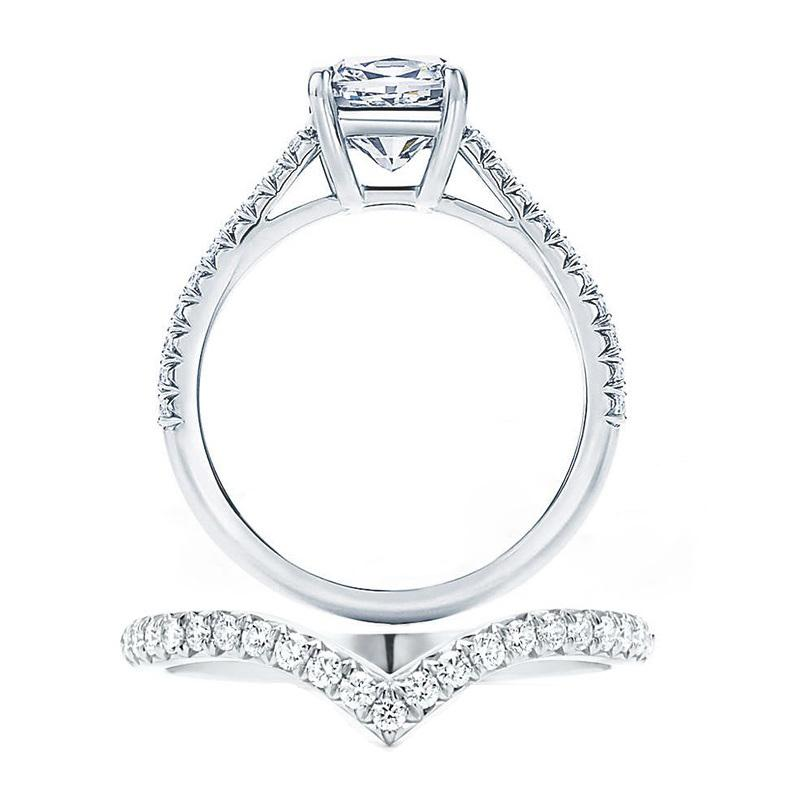 2.0 CT Classic Cushion Cut With V-Shape Band Sterling Silver Wedding Set