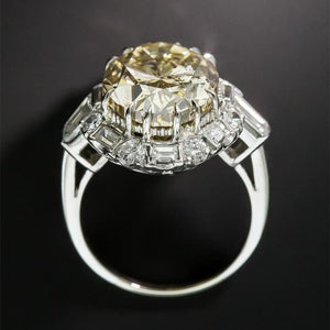 4.0 CT Oval Cut Lab Created Yellow Sapphire with Round Diamonds Antique Style Enagement Ring in Sterling Silver