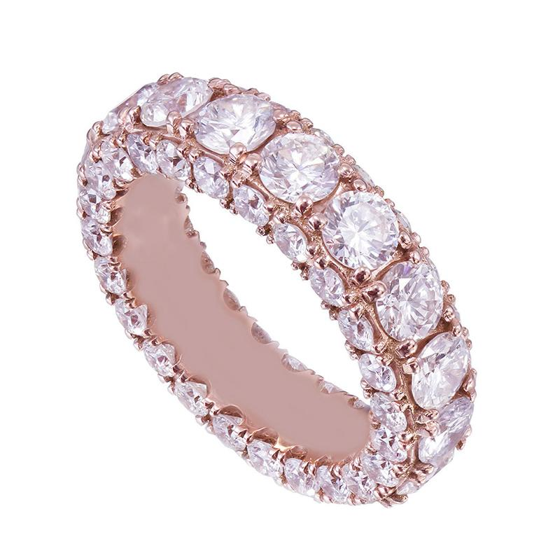 6.9 CT Round Cut Lab Created White Sapphire With Sided Paved Diamonds Eternity Ring in Rose Gold Plated Sterling Silver