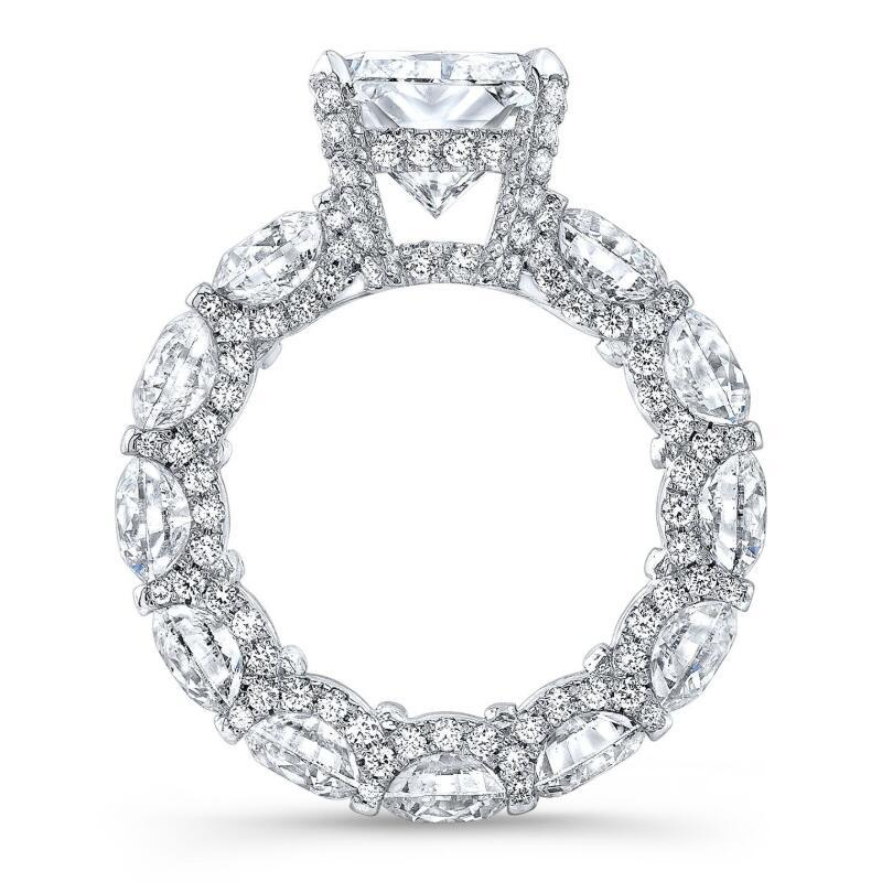 4 CT Radiant Cut Lab Created White Sapphire with Paved Diamonds Halo Engagement Ring in Sterling Silver