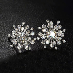1 CT Round Cut Lab Created White Sapphire Snowflake Stud Earrings in Sterling Silver