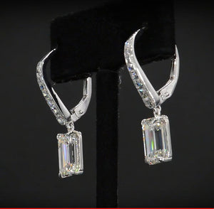 2 CT Emerald Cut Lab Created White Sapphire Classic Drop Earrings in Sterling Silver