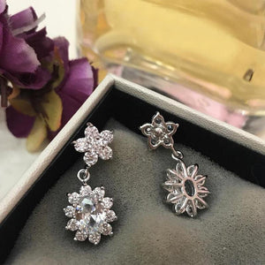 2.5 CT Oval Cut Lab Created White Sapphire Flower Earrings in Sterling Silver
