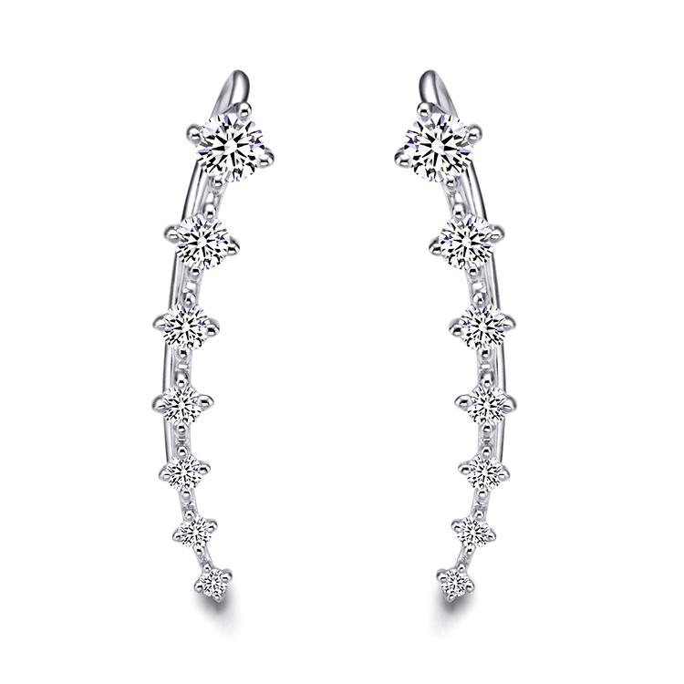 1.5 CT Round Cut Lab Created White Sapphire Climber Earrings in Sterling Silver
