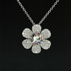 1.8 CT Round Cut Lab Created White Sapphire With Micro-paved Diamonds Flower Pendant Necklace in Sterling Silver