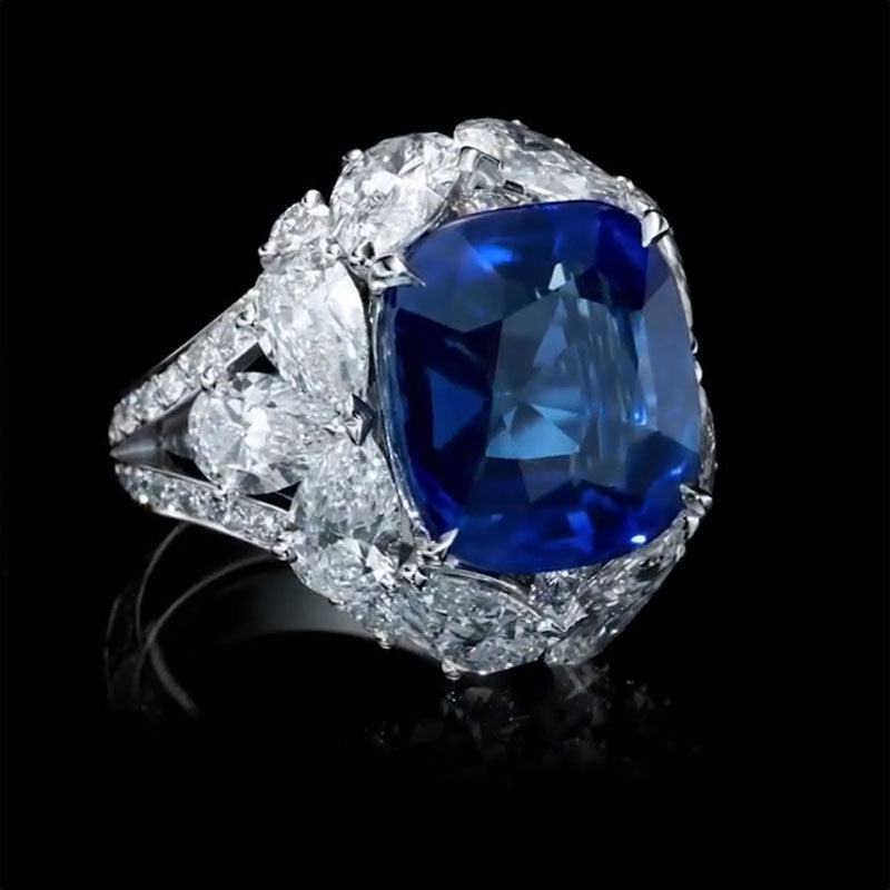 12.5 CT Cushion Cut Blue Sapphire Cocktail Ring in 925 Sterling Silver