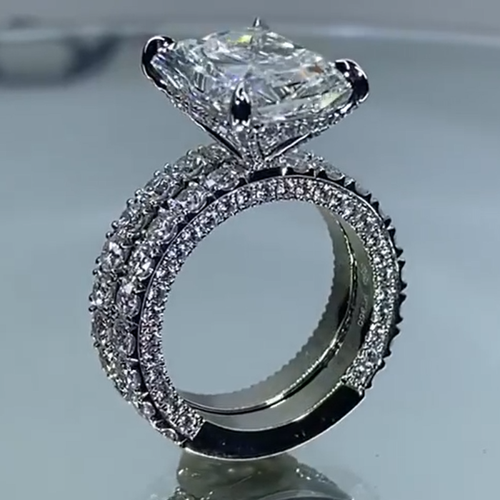 5CT Radiant Cut White Sapphire Sterling Silver Ring Set