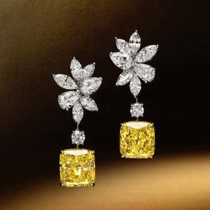 5 CT Cushion Cut Yellow Stone Sterling Silver Earrings