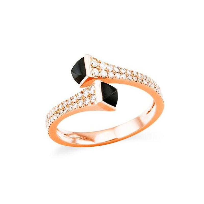 Rose  Gold  Tone  Ring  With Diamonds  In  Sterling Silver