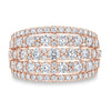 2 CT Rose Gold 5 Rows Round Brilliant Diamond Sterling Silver Wedding Band