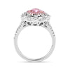 1.53 CT Fancy Pink Pear Cut Stone Halo Sterling Silver Engagement Ring