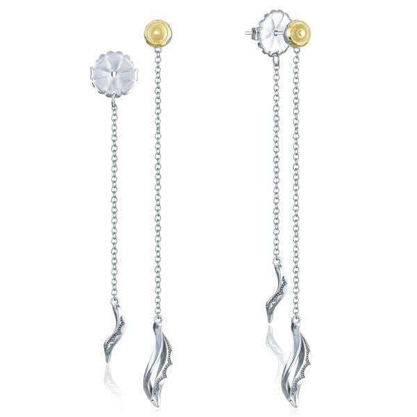 Double Petite Wavelet Thread Drop Earrings  In  Sterling Silver