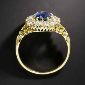 2.35 CT Oval Cut Blue Sapphire Sterling Silver Engagement Ring