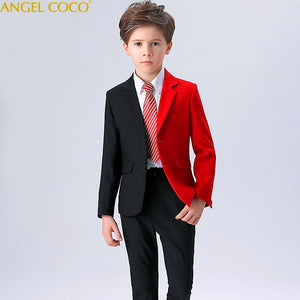 2018 New Fashion Red/Balck Baby Boys Suit Kids Blazers Boy Suit For Weddings Prom Formal Spring Autumn Wedding Dress Boy Suits