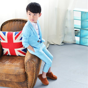 boy suits for weddingsCasual Male Child Suit Set Elegant Honorable Lapel Kid Tuxedos Boy's Blue Color Special wedding Boys' Attire