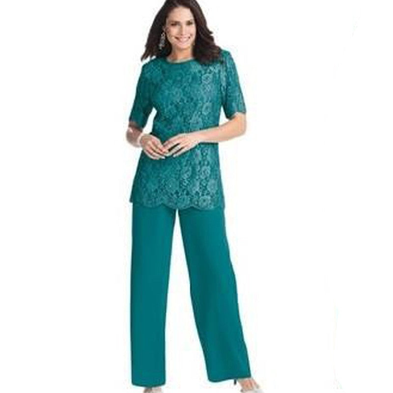 Hunter Lace Two-piece Chiffon Mother Of The Bride Pants Suits With Half Sleeve Jewel Neck Plus Size Custommade Groom Cheap