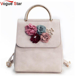 526804ed06a0 Multifunction Women Small Backpack PU Leather Women s Backpack Beading Flower  School Bags For Girls Female Backpack