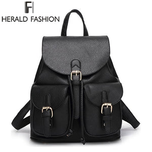 c6be6a306b6b Herald Fashion Vintage Leather Backpack for Women School Bags for Teenagers  Girls Female Mochila Travel Backpack