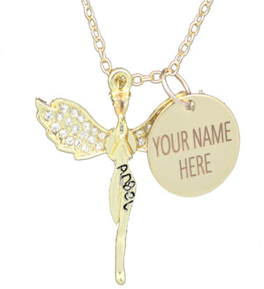 Womens Personalised Guardian Angel Pendant-Gold Plated