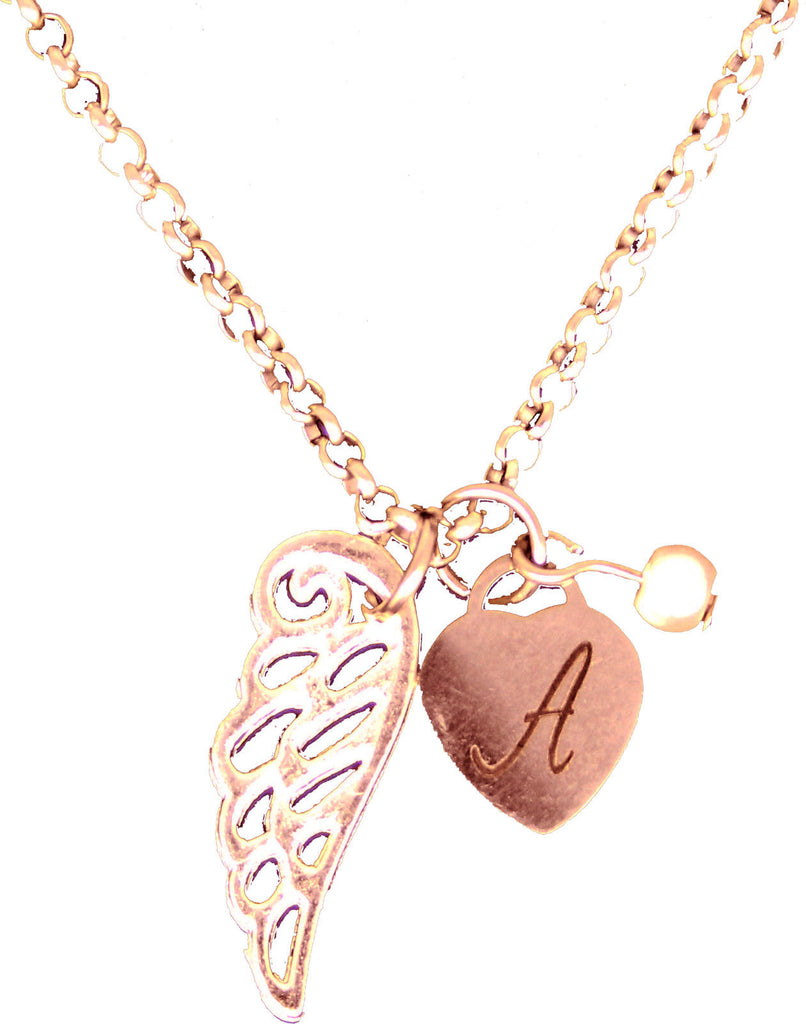 Personalised Heart Guardian Angel Wing Engraved Rose Gold