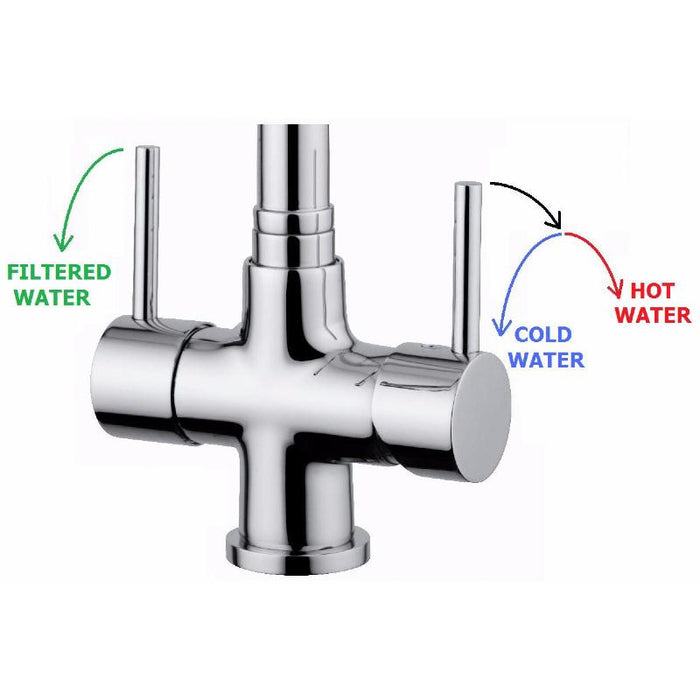 Acquapuro Milano Compact Chrome Pull Down Spray 2 Lever Tap Chrome  (MIL32C)