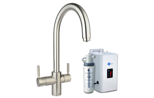 InSinkErator 3N1 J Shape Tap, Neo Tank & Filter Pack - Brushed Steel