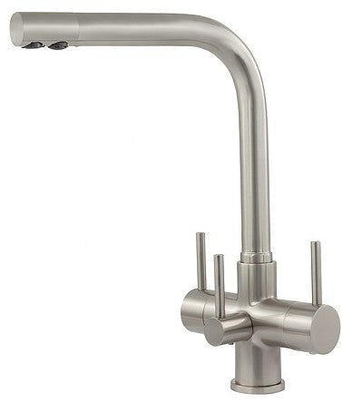 Acquapuro Sorrento 3 Lever 3 Way Tap Brushed Steel (SOR33B)