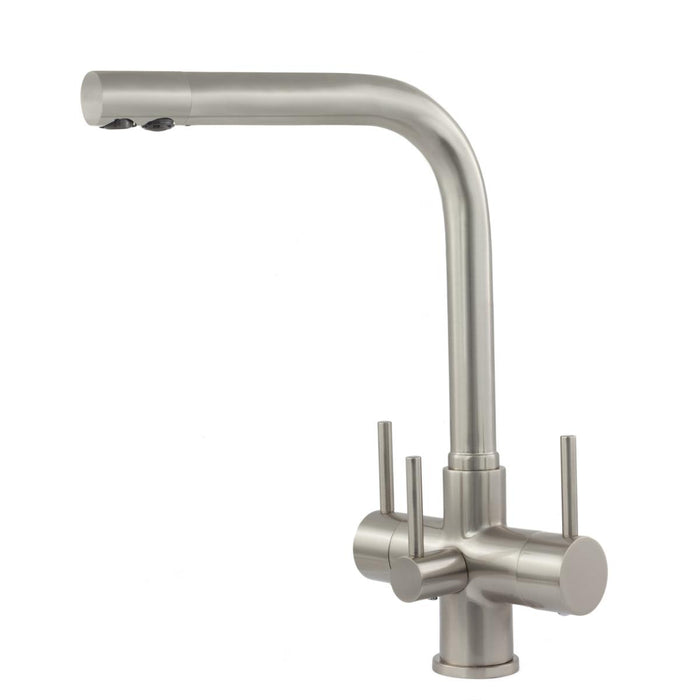 Acquapuro Sorrento 3 Lever 3 Way Brushed Steel Tap